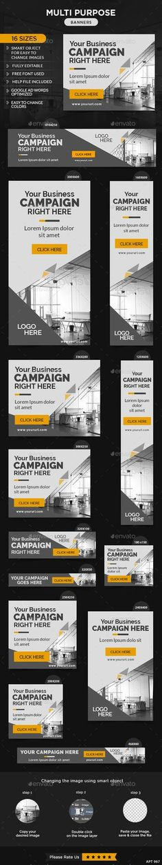 Buy Multi Purpose Banners by Hyov on GraphicRiver. Promote your Products and services with this great looking Banner Set. 16 awesome quality banner template PSD files r. Design Sites, Ad Design, Social Media Banner, Social Media Design, Banner Template, Ad Layout, Logos Retro, Web Banner Design, Banners
