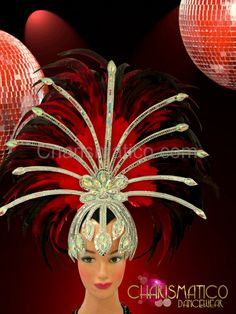 Charismatico Dancewear Store - CHARISMATICO Silver mirrored and crystal cap styled star-burst red feather headdress, $165.00 (http://www.charismatico-dancewear.com/charismatico-silver-mirrored-and-crystal-cap-styled-star-burst-red-feather-headdress/)