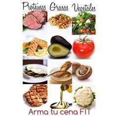 La cena es una de las comidas a las cuales hay que prestarle mayor atención, bajamos ya el ritmo, estaremos más sedentarios, nuestro metabolismo es más lento a esta hora, nuestro cuerpo física y hormonalmente se prepara para dormir, nuestra sensibilidad a la insulina es baja, toleramos menos los carbohidratos y segregamos más insulina de lo normal cuando los consumimos. Con esta foto les doy una idea de las cosas que pueden comer en la noche sin preocupación. Proteínas, satisfacen y ...