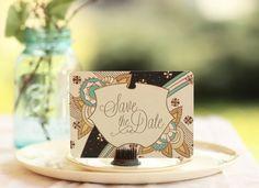"Save the Dates or Vintage Wedding Invitations ""Deco Dahlia"" on Etsy"