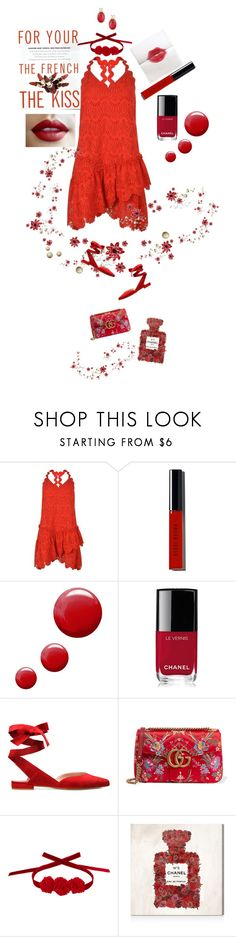 """""""Red, Red, Rose"""" by onesweetthing ❤ liked on Polyvore featuring Three Floor, Maybelline, Bobbi Brown Cosmetics, Topshop, Chanel, Gucci, Vjera Vilicnik, Oliver Gal Artist Co. and Effy Jewelry"""