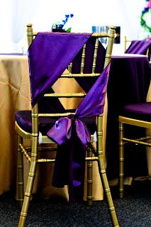 #purple wedding reception ...Purple Satin Table Runner used as a sash -  different way of chair dressing themed wedding #purple #sashes #flowers #chaircovers #tablerunner #white #spring #hotcolors #favorites visit is at www.chaircoverfacory.com
