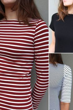 The Brigitte Top is a fitted, classic boat neck (bateau) top with set-in sleeves. The p...