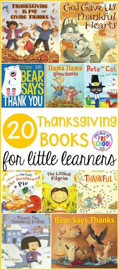 Thanksgiving book list for preschool, pre-k, and kindergarten. Learn all about turkeys, Thanksgiving, and being thankful through books.