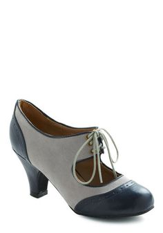 The Best of Times Heel in Grey - Grey, Blue, Mid, Lace Up, Faux Leather, Party, Work, Casual, 30s, 60s, Variation, Top Rated