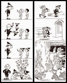 Dos personajes cómicos sin palabras: Monsieur Hulot y Ot el Bruixot