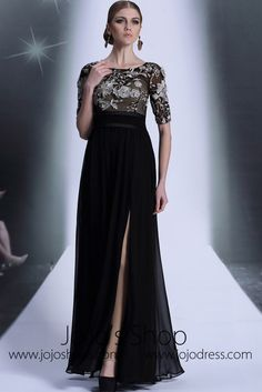 Black Lace Short Sleeves Formal Prom Evening Dress DQ830968