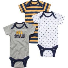 Gerber Newborn Baby Boy Bodysuits Variety, 3-Pack, Size: 0 - 3 Months, Gray