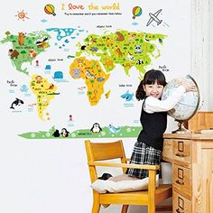 World map wall mural in teal and light gray children map with world map wall decal home sticker pvc murals vinyl paper https gumiabroncs Choice Image