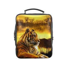 Tiger and Sunset Square Backpack. FREE Shipping. FREE Returns. #lbackpacks #tigers