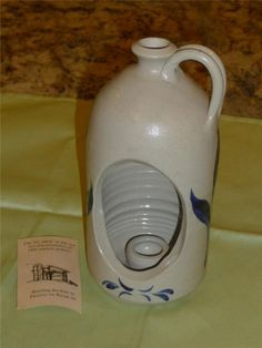 NEW Williamsburg Pottery Wall Sconce Candle Jug ~ Stoneware Blue Leaf Salt Glaze