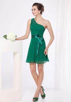 #Chiffon #Green Short #Bridesmaid Dress