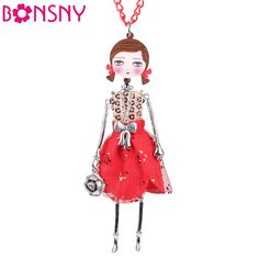 Newei Handmade Doll Necklace French Cloth Long Chain Pendant 2016 New Fashion Jewelry For Women Charm Accessories