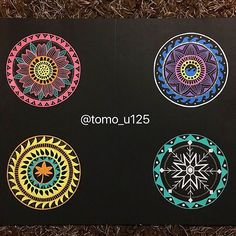 Spring🌸  Summer🌞  Fall🍁  Winter❄️ * #マンダラ #曼荼羅 #mandala #mandalas #mandalaart #mandaladesign #mandaladrawing #mandalazen #zendala #beautiful_mandalas #coloringmandalas  #colorpencildrawing #blackpaper