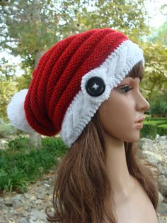 e3ddf2e7790 DIY- Knitting Pattern  24 Santa Cable-band Beehive Slouchy with Pom-Pom  Pattern