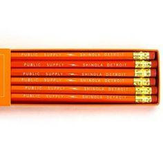 Shinola x Public - Supply Pencils Pantone Orange, Shinola Detroit, School Pack, Pencil Boxes, Cool Gear, Desk Set, Write It Down, Art Classroom, Public School