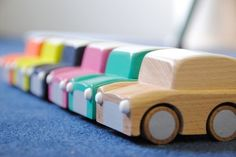 """""""E"""" would love these. Wooden cars!"""