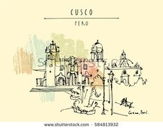 Plaza de Armas in Cusco, Peru, South America. The Cathedral. Old town center. Inca capital and Spanish city in Andes mountains. Vintage artistic handdrawn postcard, poster, book illustration in vector