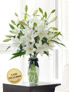 6148b90894 Luxury White Oriental Lily Vase with Luxury Scented Candle