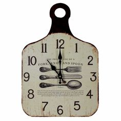 'The proper use of a fork, knife and spoon ' Shabby Chic Shaped Wall Clock