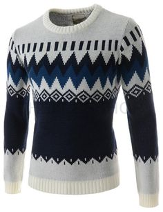 (FFT33-WHITENAVY) Mens Slim Fit Round Neck Patterned 3 Color Long Sleeve Knitted Sweater