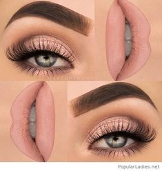 Pageant and Prom Makeup Inspiration. Find more beautiful makeup looks with Pagea. - Makeup Products New Pink Makeup, Beauty Makeup, Hair Makeup, Nude Makeup, Lipstick Shades, Pink Lipstick Makeup, Dewy Makeup, 80s Makeup, Witch Makeup