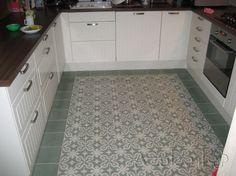 Cementtiles kitchen - Azule 09 Olive - Project van Designtegels.nl