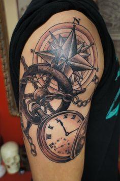 Grey Nautical Compass And Pocket Watch Tattoo On Half Sleeve