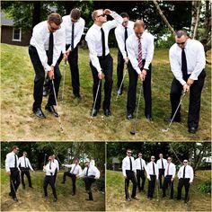 Groom and Groomsmen Golfing - wedding photos. yes please