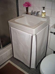 DIY Gathered Sink Skirt Sink skirt Sinks and Tutorials