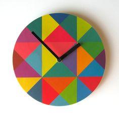 Items similar to Objectify Grid Wall Clock - Medium Size on Etsy Plywood Walls, Pine Plywood, Geometric Wall, Geometric Designs, Geometric Shapes, Cool Clocks, Diy Clock, Clock Ideas, Daylight Savings Time
