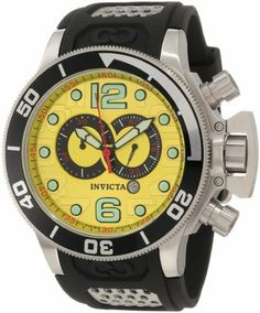 Invicta Men's 6914 Corduba Collection Interceptor Chronograph Black Polyurethane Watch Invicta. $174.99. Precise Swiss-quartz movement. Water-resistant to 660 feet (200 M). Durable flame-fusion crystal; brushed stainless steel case; black polyurethane strap with stainless steel insert. Chronograph functions with 60 second and 30 minute black bordered subdials; date function. Vibrant yellow dial with black hands, arabic numerals and hour markers; red second hand; luminous; screw-d...