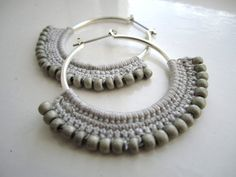 Crocheted Hoops with beads in grey