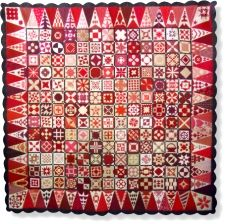 DEAR JANE QUILT..............PC.................Red Dear Jane Block Of The Month Quilt