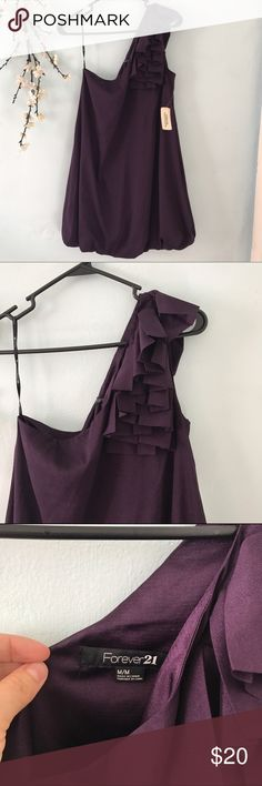 🆕forever 21 one shoulder purple dress SZ M New with tag forever 21 purple one shoulder dress in size M feel free to ask questions!!! Forever 21 Dresses One Shoulder