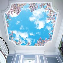 Vintage Room Decor Ceilings - Modern minimalist sky sweet cherry blossom blue sky and white cloud ceiling wallpaper wallpaper wallpaper - Wallpaper Ceiling, Cheap Wallpaper, Ceiling Murals, Wallpaper Size, Wall Murals, Wallpaper Wallpapers, Cloud Ceiling, Plafond Design, Modern