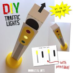 Traffic Light Craft - Enhance your toy car play with this fun and easy DIY traffic light printable!