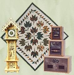 Wall Hanging Quilt by M&M Quilters, Post office box Coin Banks by The Bank Works, Fretwork Miniature Grandfather Clock by Time Continuum
