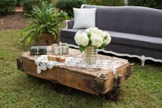 Miss Milly's gorgeous furniture cart as a coffee table from Southern Accents Architectural Antiques in Cullman, Alabama.  Photo made at The Tate House by Jeff Roffman of Roffman Photography.