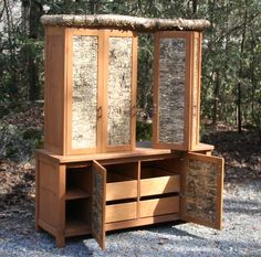 Custom Made Bark TV Armoire by Miters Touch Woodworking