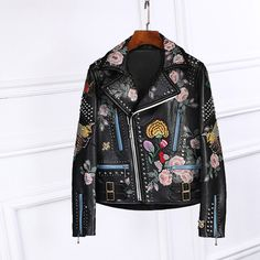 >> Click to Buy << 2017 Spring Autumn Luxury Design Floral Print Black Faux leather Studs Jacket back with Snake Flowers Embroidered Zipped cuffs #Affiliate