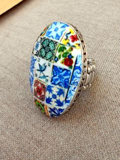 Portugal  Antique Azulejo Tile Replica HUGE Collage RING - Stretchy - OOAK - 43 x 31mm Face