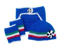 Italy WORLD SOCCER BABY Hat Diaper Cover and Socks by Grandmabilt