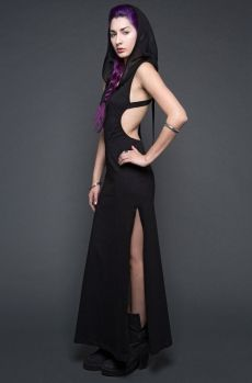 Neoburner Maxi Dress With Mesh Hood And Leatherette Straps!