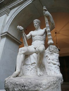 Hercules (Heracles), Roman statue (marble) copy, 1st–2nd century AD, (Palazzo Altemps, Rome).