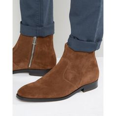 Paul Smith Mulder Suede Zip Boots (£200) ❤ liked on Polyvore featuring men's fashion, men's shoes, men's boots, tan, mens tan boots, mens suede boots, mens tan suede shoes, paul smith mens shoes and mens zipper shoes