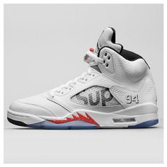 Supreme Air Jordan 5 White is the third colorway of the Supreme x Air Jordan 5 collaboration. Air Jordan 5 Supreme White version adds to the Black and Camo Jordan 5, Jordan Retro, Jordan Shoes, Jordan Swag, Adidas Shoes Outlet, Nike Shoes, Roshe Shoes, Nike Roshe, Nike Air Max