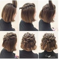 108. BRAIDED HALF UPDO FOR SHORT HAIR