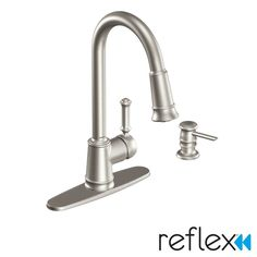 View the Moen CA87012 Pullout Spray High-Arc Kitchen Faucet with Reflex and Hydrolock Technologies - Includes Soap Dispenser from the Lindley Collection at FaucetDirect.com.