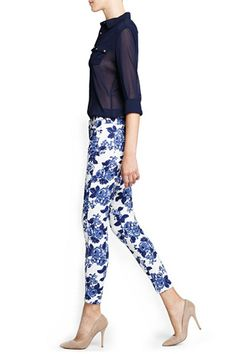 Pants, Please! Mango's Fall Crop Will Have You Swearing Off Summer Skirts #refinery29  http://www.refinery29.com/mango#slide12  Mango Printed Slim-Fit Trousers, $69.99, available at Mango.